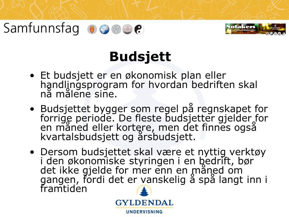 Budsjett Et budsjett er en økonomisk plan eller handlingsprogram for hvordan bedriften skal nå målene sine.