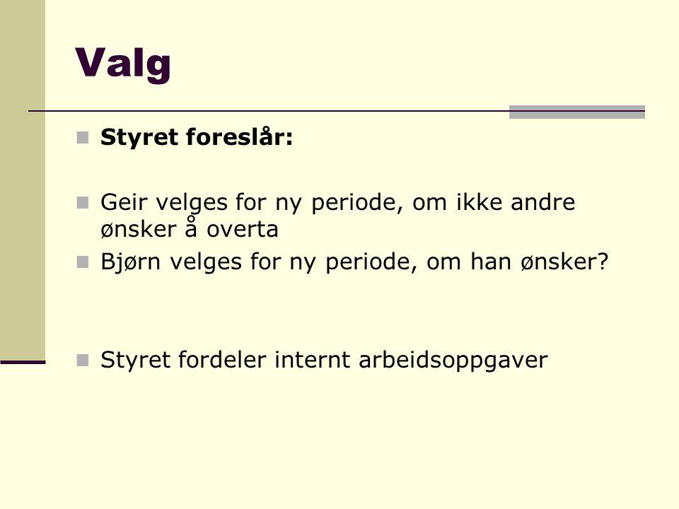 Valg Styret foreslår: Geir velges for ny periode, om ikke andre ønsker å overta. Bjørn velges for ny periode, om han ønsker