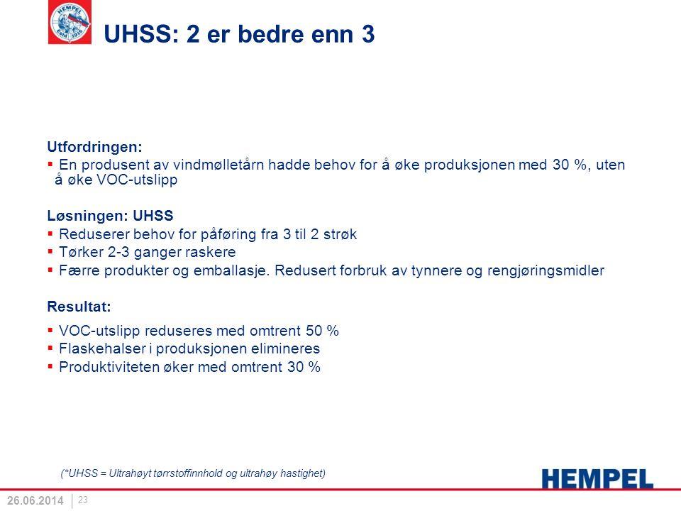 UHSS: 2 er bedre enn 3 Utfordringen: