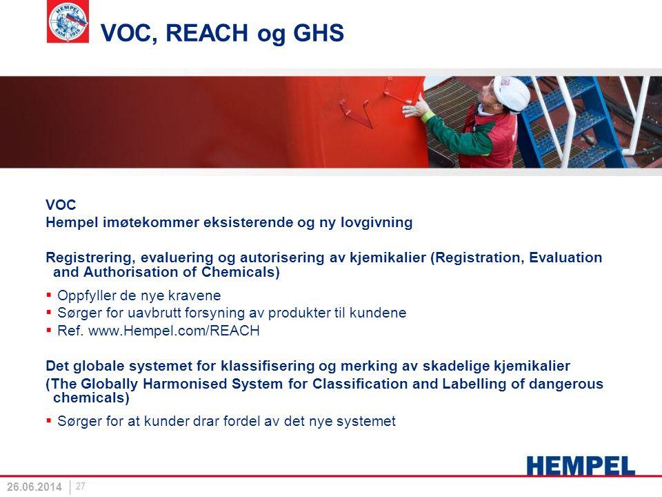 VOC, REACH og GHS VOC Hempel imøtekommer eksisterende og ny lovgivning