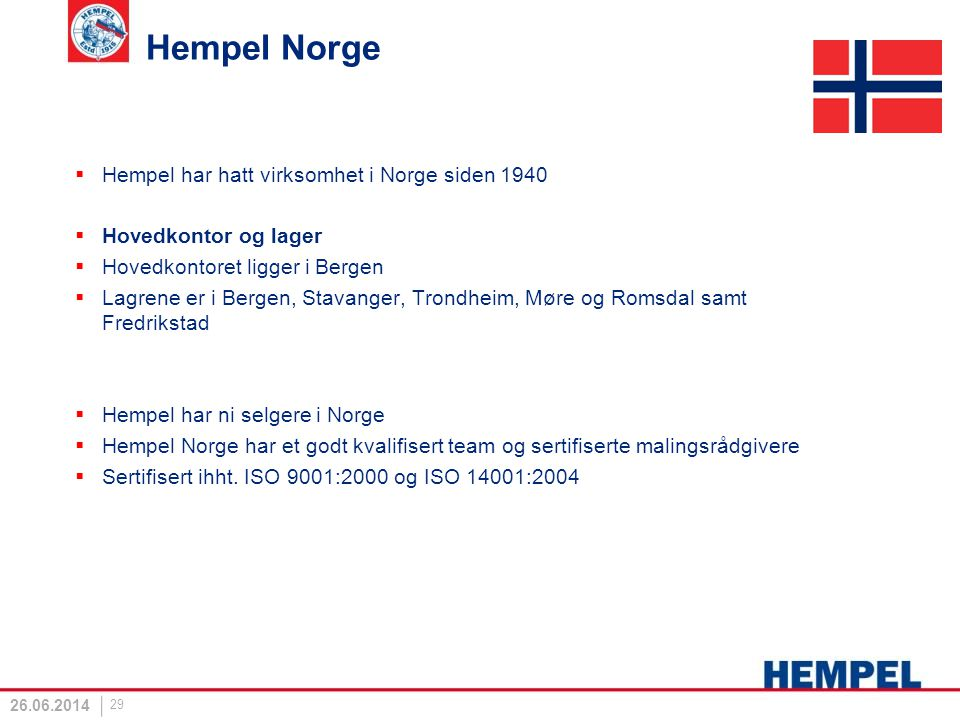 Hempel Norge Hempel har hatt virksomhet i Norge siden 1940