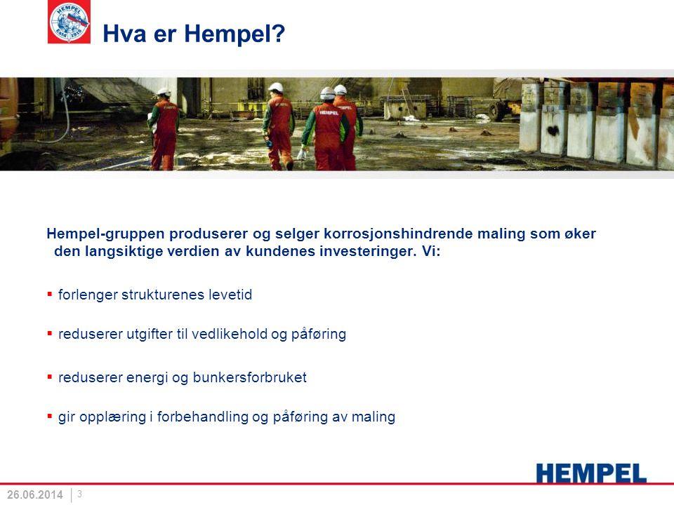 Hva er Hempel Hempel-gruppen produserer og selger korrosjonshindrende maling som øker den langsiktige verdien av kundenes investeringer. Vi: