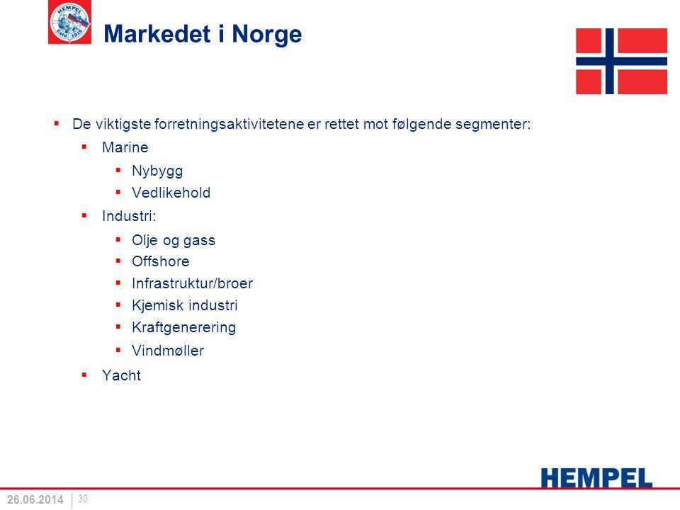 Markedet i Norge De viktigste forretningsaktivitetene er rettet mot følgende segmenter: Marine. Nybygg.