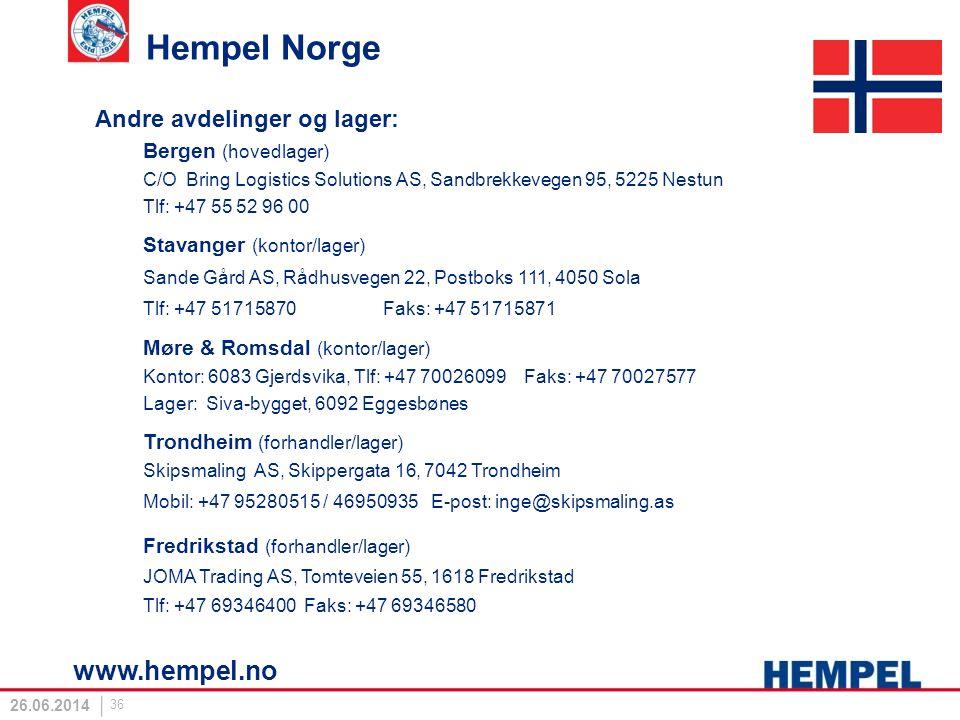 Hempel Norge www.hempel.no Andre avdelinger og lager: