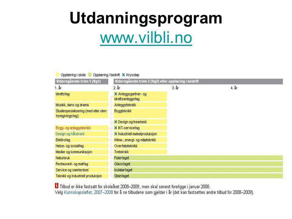 Utdanningsprogram www.vilbli.no