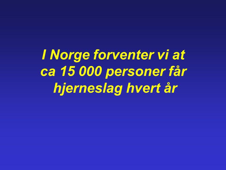 I Norge forventer vi at ca 15 000 personer får hjerneslag hvert år