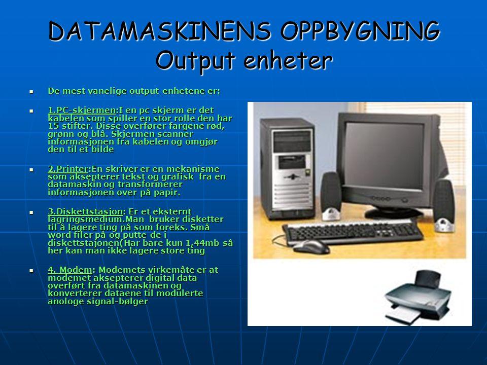 DATAMASKINENS OPPBYGNING Output enheter