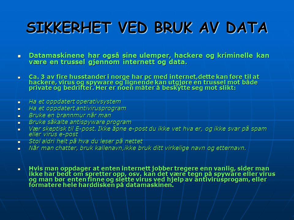 SIKKERHET VED BRUK AV DATA