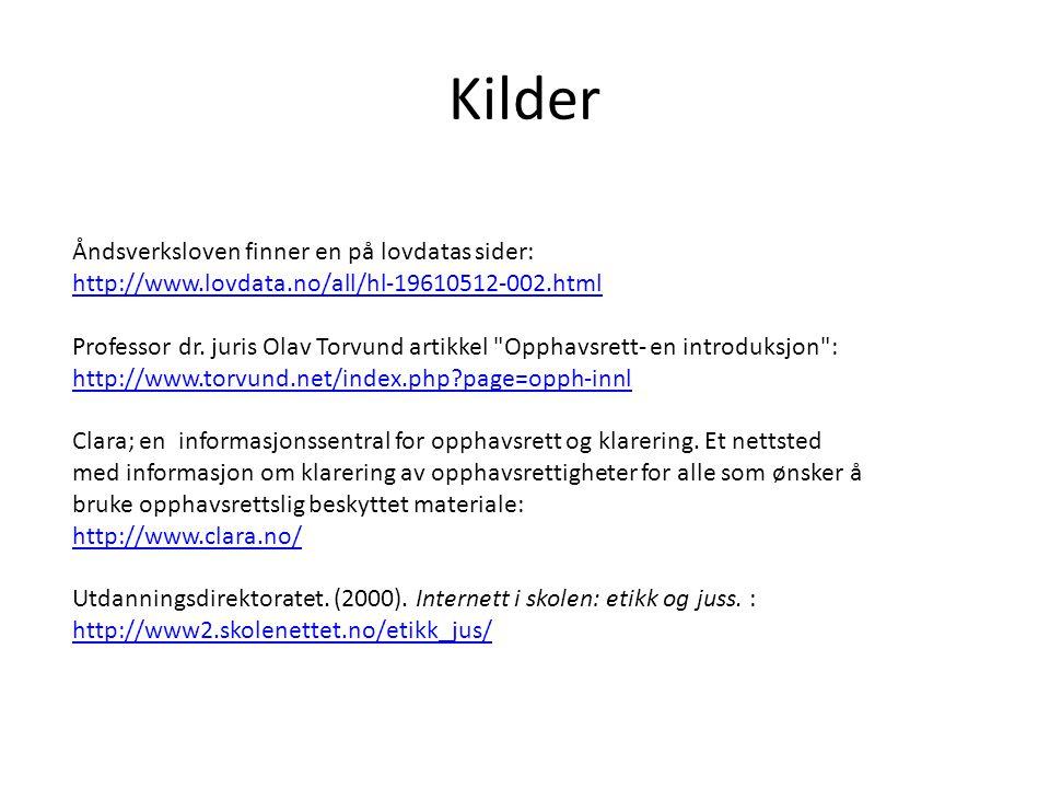 Kilder Åndsverksloven finner en på lovdatas sider: http://www.lovdata.no/all/hl-19610512-002.html.