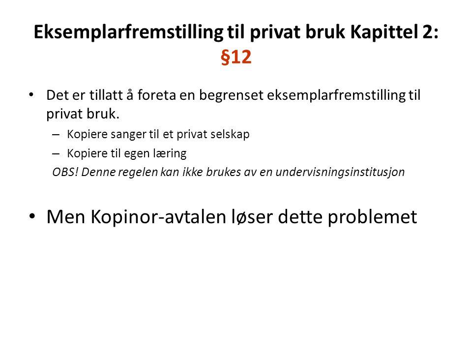 Eksemplarfremstilling til privat bruk Kapittel 2: §12