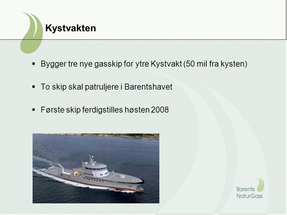 Bygger tre nye gasskip for ytre Kystvakt (50 mil fra kysten)