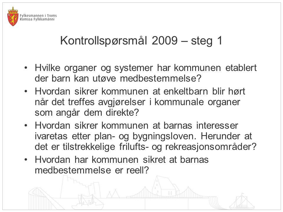 Kontrollspørsmål 2009 – steg 1