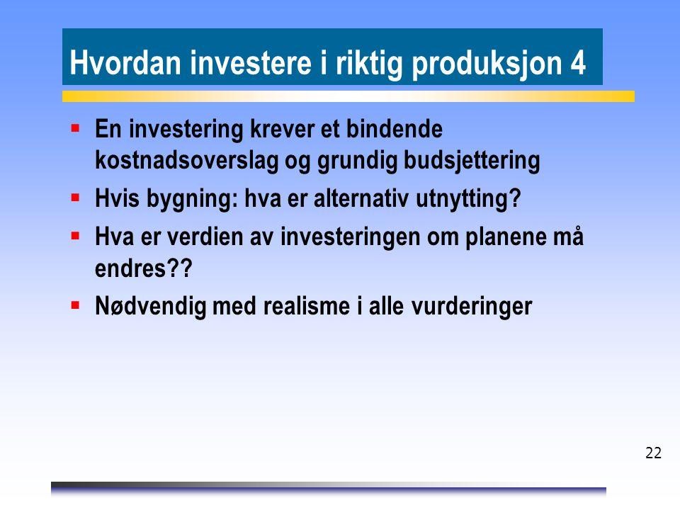 Hvordan investere i riktig produksjon 4