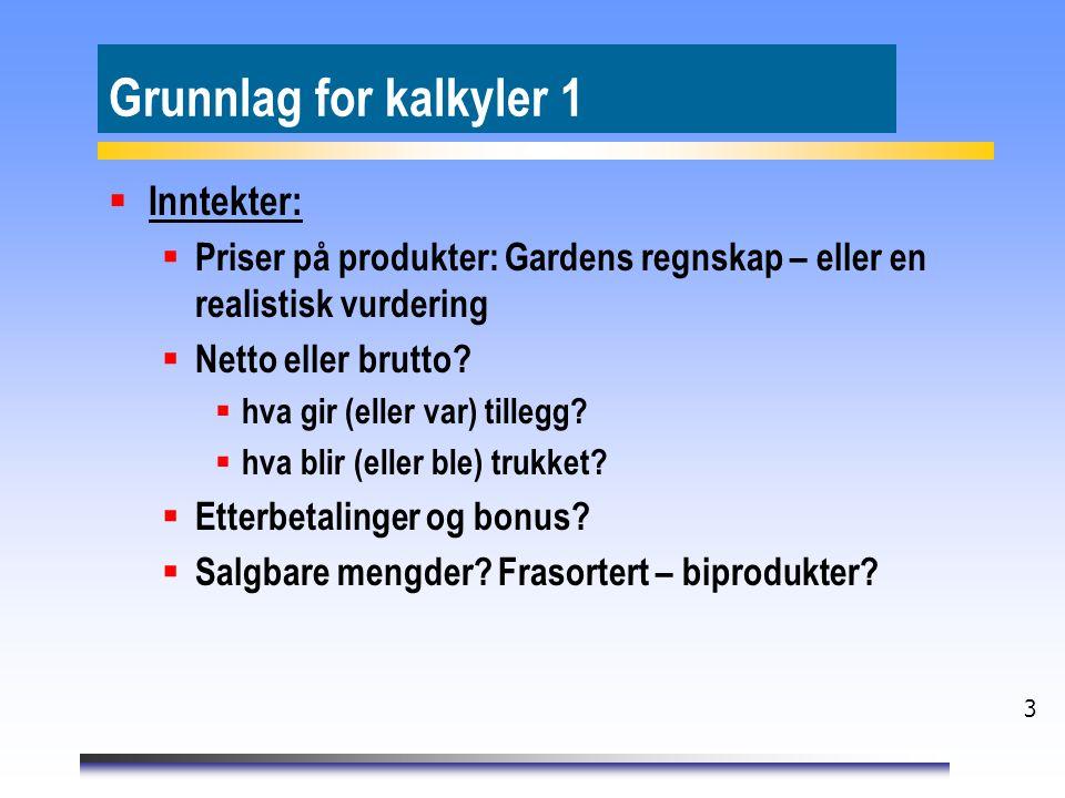 Grunnlag for kalkyler 1 Inntekter: