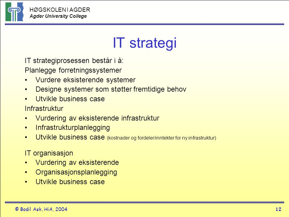 IT strategi IT strategiprosessen består i å: