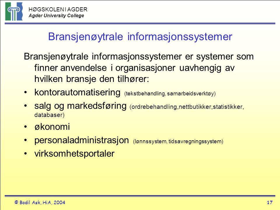 Bransjenøytrale informasjonssystemer