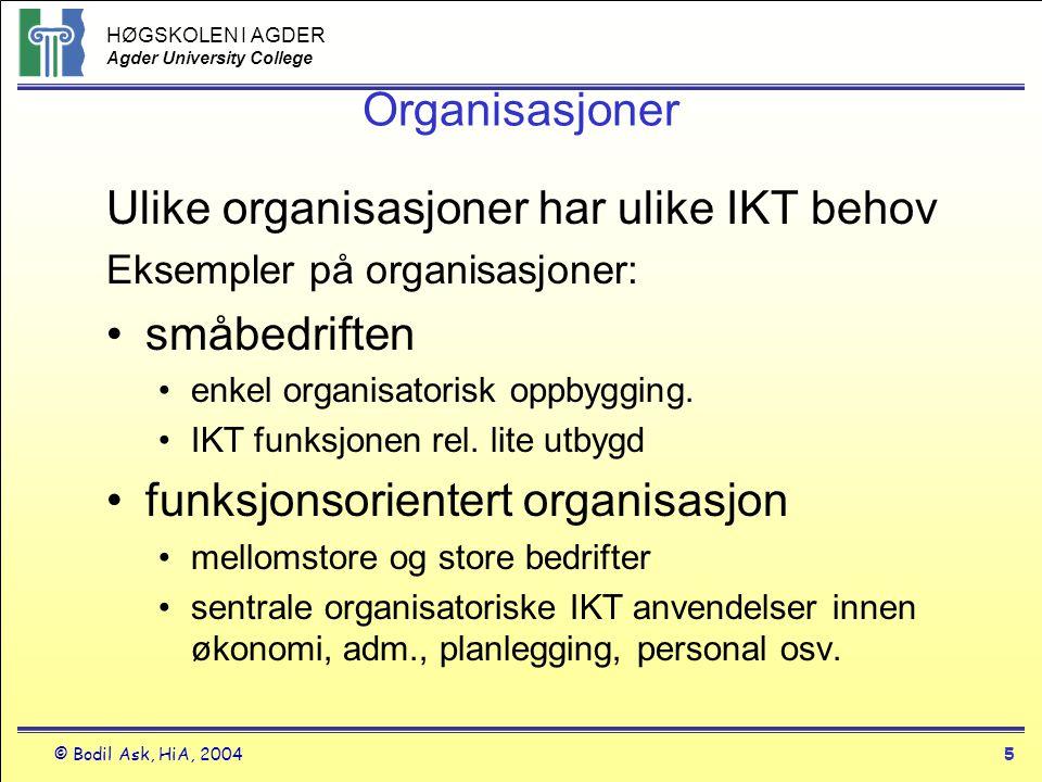 Ulike organisasjoner har ulike IKT behov småbedriften