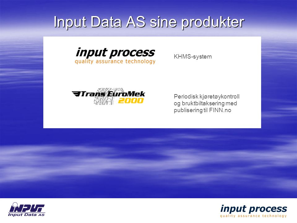 Input Data AS sine produkter