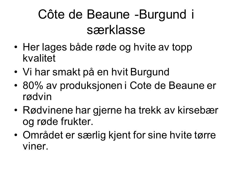 Côte de Beaune -Burgund i særklasse