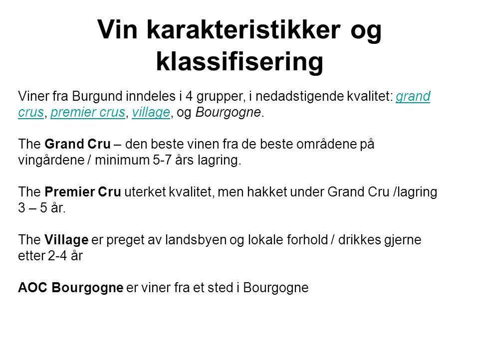Vin karakteristikker og klassifisering