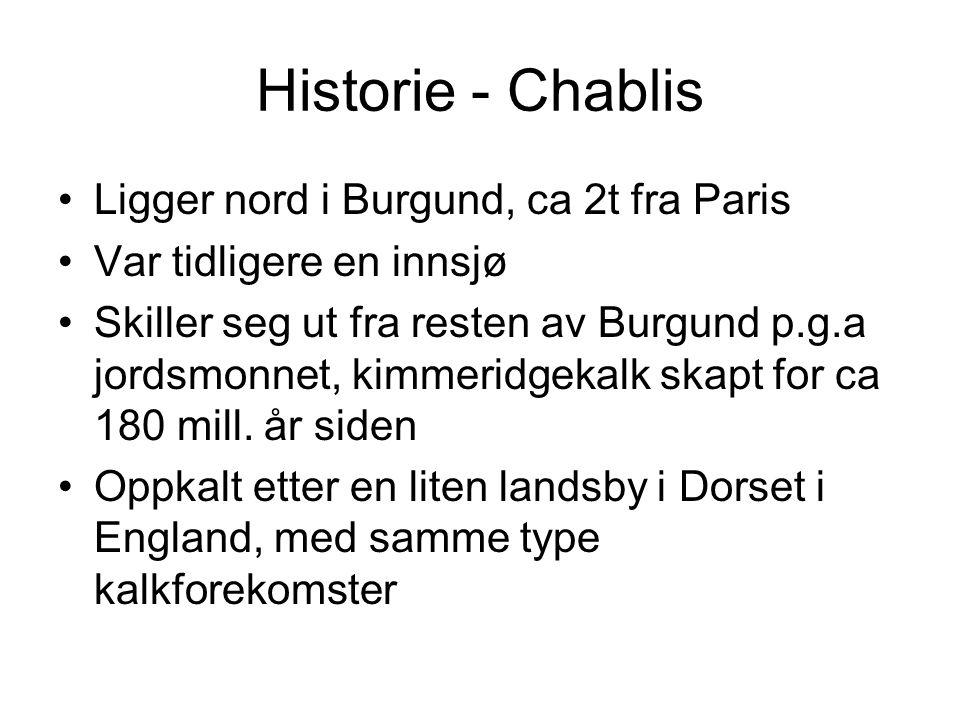 Historie - Chablis Ligger nord i Burgund, ca 2t fra Paris