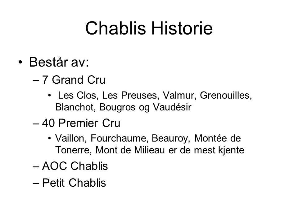 Chablis Historie Består av: 7 Grand Cru 40 Premier Cru AOC Chablis