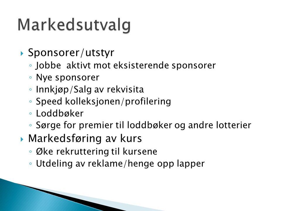 Markedsutvalg Sponsorer/utstyr Markedsføring av kurs
