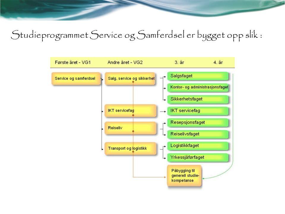 Studieprogrammet Service og Samferdsel er bygget opp slik :