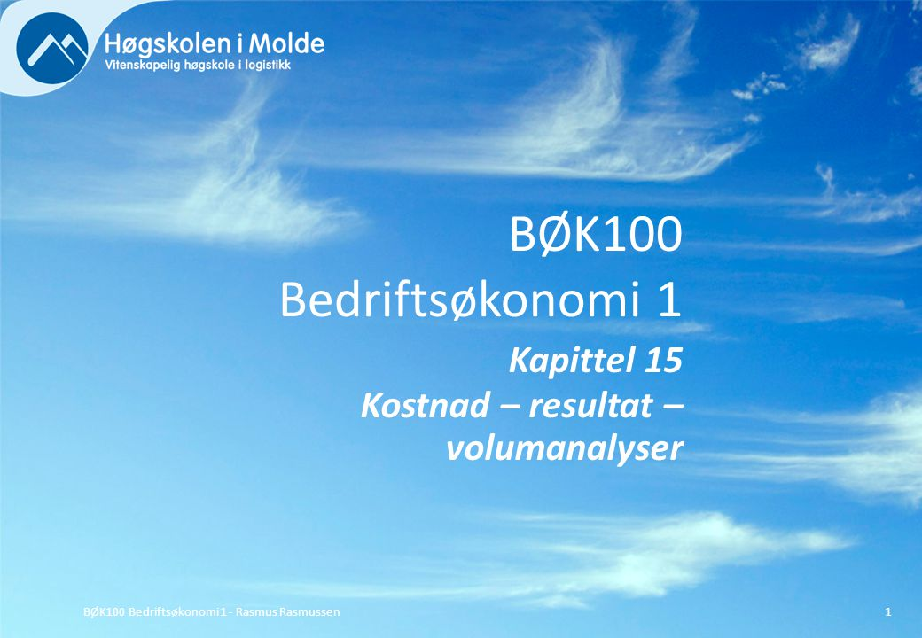 BØK100 Bedriftsøkonomi 1 Kapittel 15