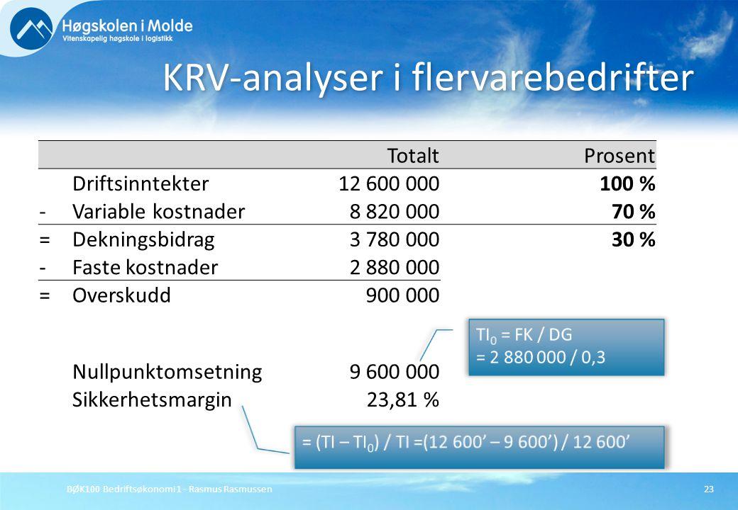 KRV-analyser i flervarebedrifter