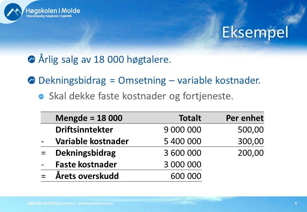 Eksempel Årlig salg av 18 000 høgtalere.