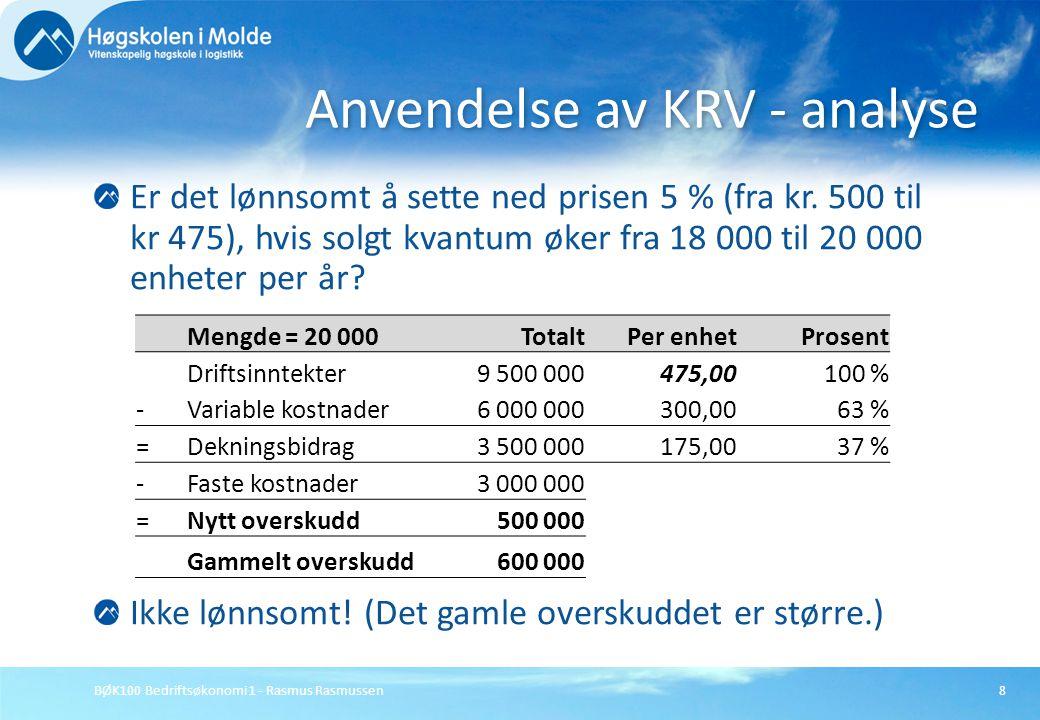 Anvendelse av KRV - analyse