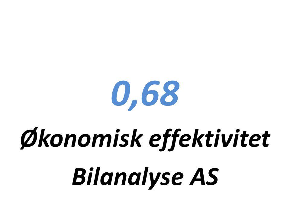 0,68 Økonomisk effektivitet Bilanalyse AS