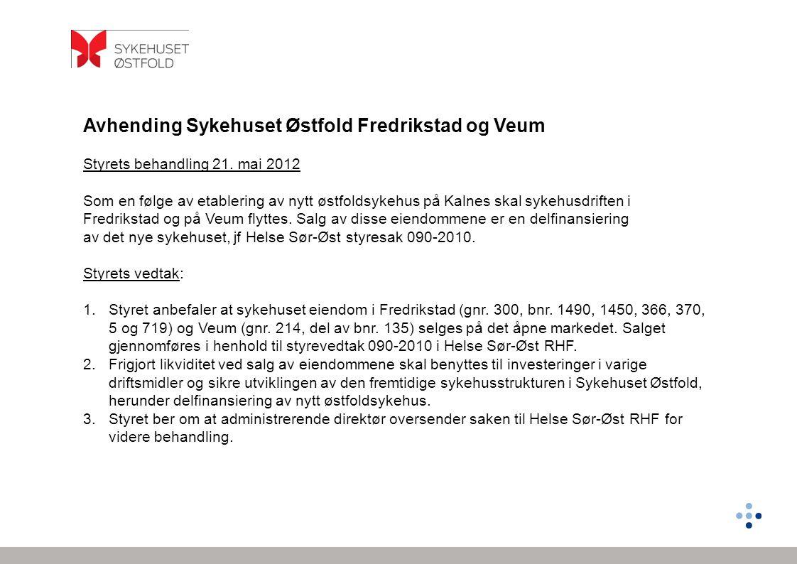 Avhending Sykehuset Østfold Fredrikstad og Veum