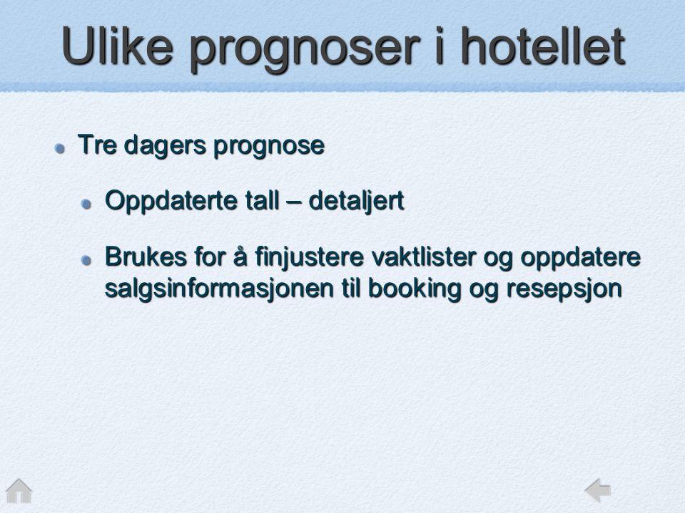 Ulike prognoser i hotellet