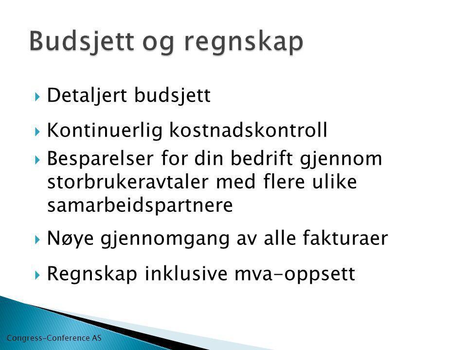 Budsjett og regnskap Detaljert budsjett Kontinuerlig kostnadskontroll