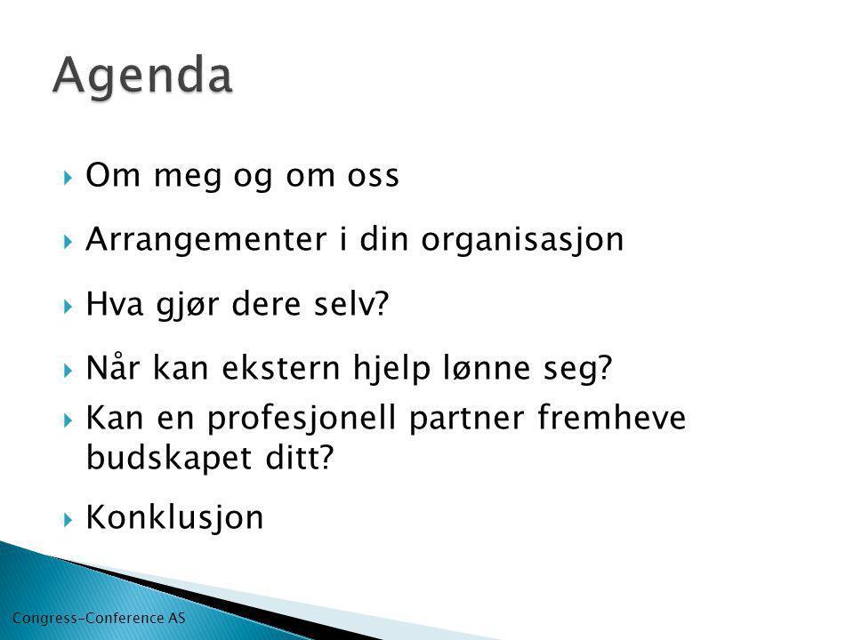 Agenda Om meg og om oss Arrangementer i din organisasjon