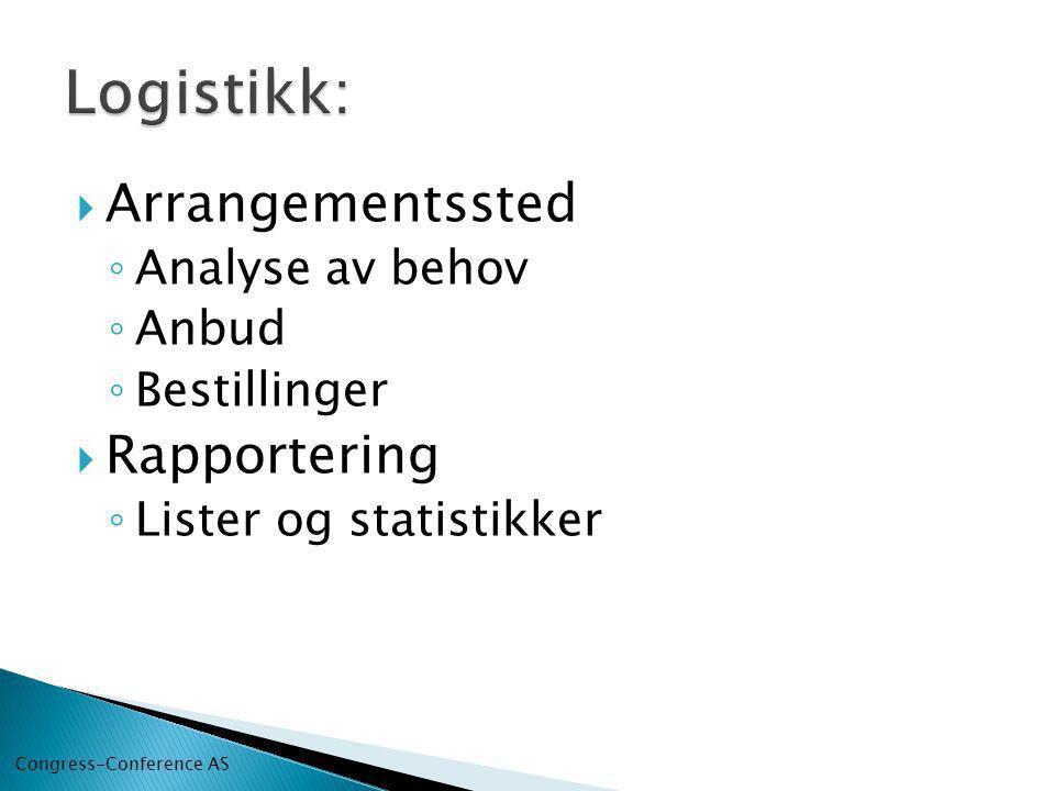 Logistikk: Arrangementssted Rapportering Analyse av behov Anbud