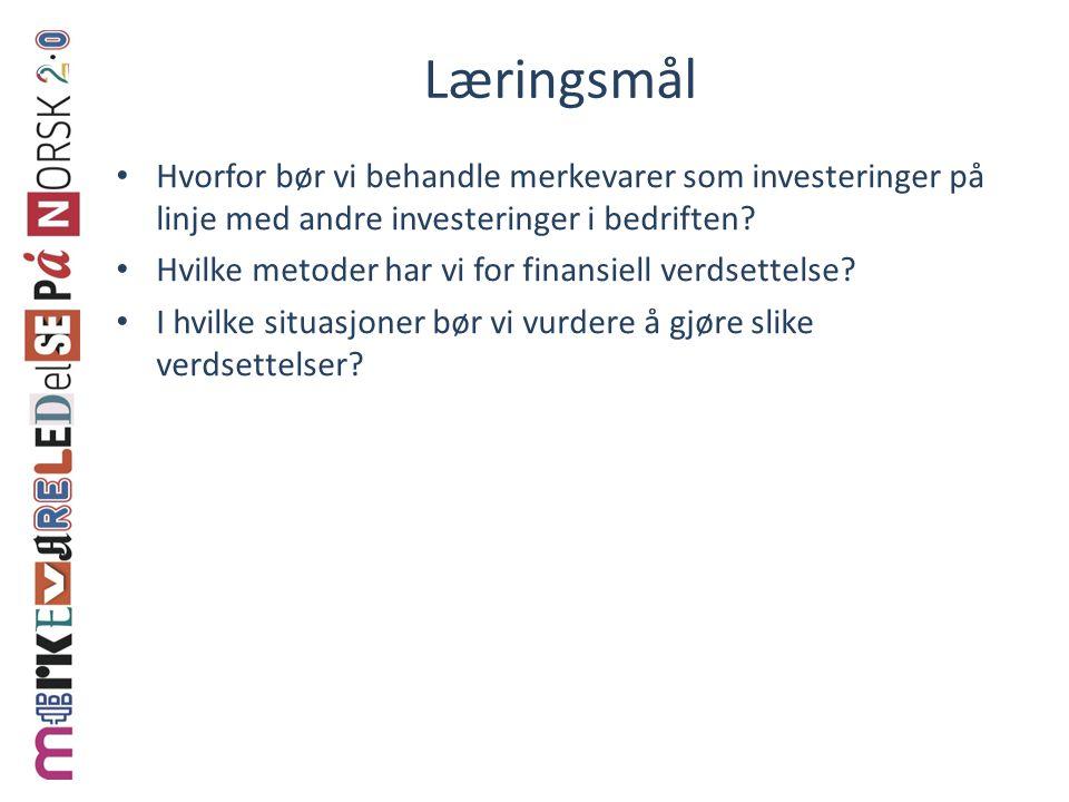 Læringsmål Hvorfor bør vi behandle merkevarer som investeringer på linje med andre investeringer i bedriften