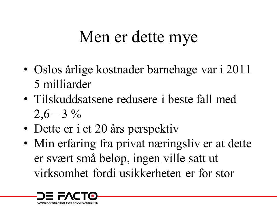 Men er dette mye Oslos årlige kostnader barnehage var i 2011 5 milliarder. Tilskuddsatsene redusere i beste fall med 2,6 – 3 %