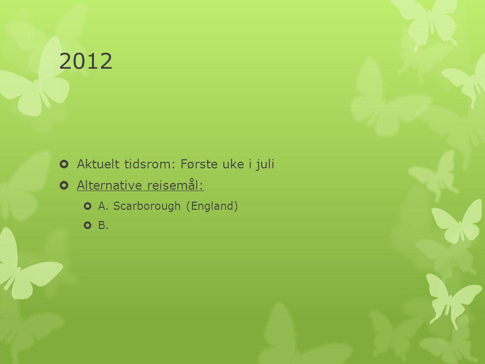 2012 Aktuelt tidsrom: Første uke i juli Alternative reisemål:
