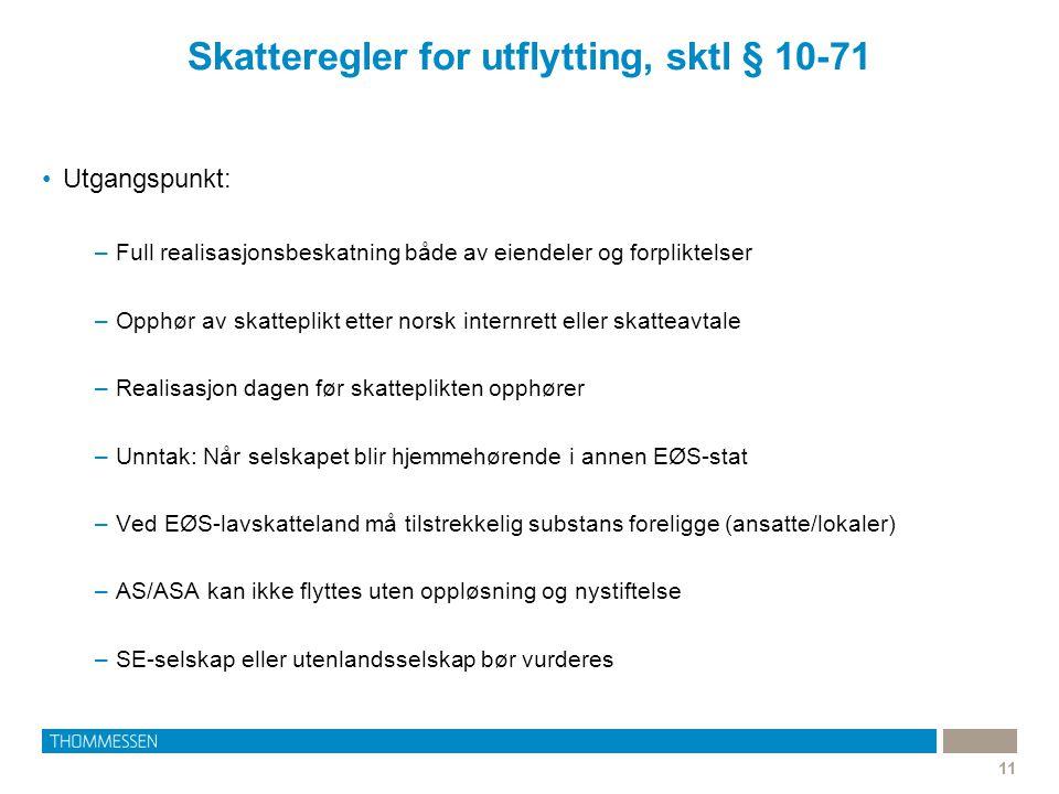 Skatteregler for utflytting, sktl § 10-71