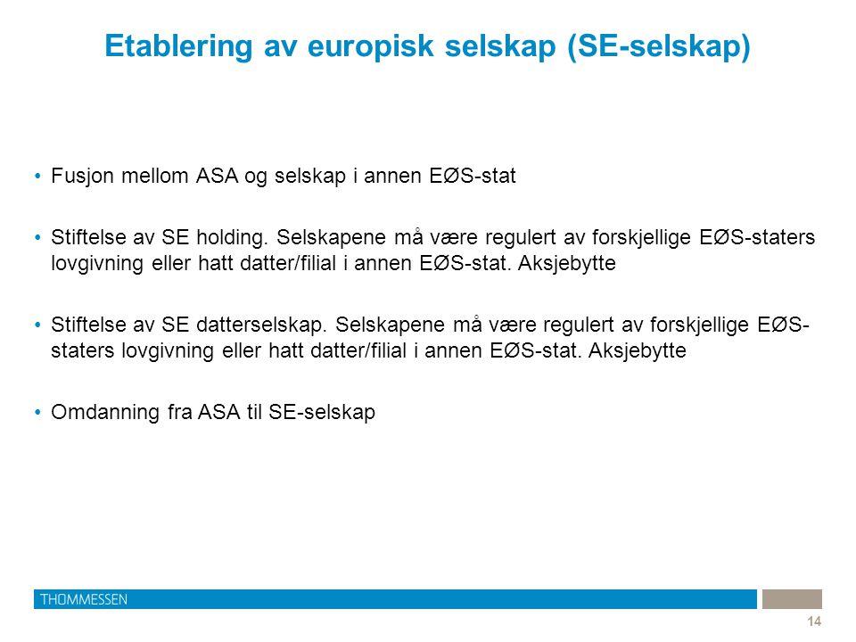 Etablering av europisk selskap (SE-selskap)