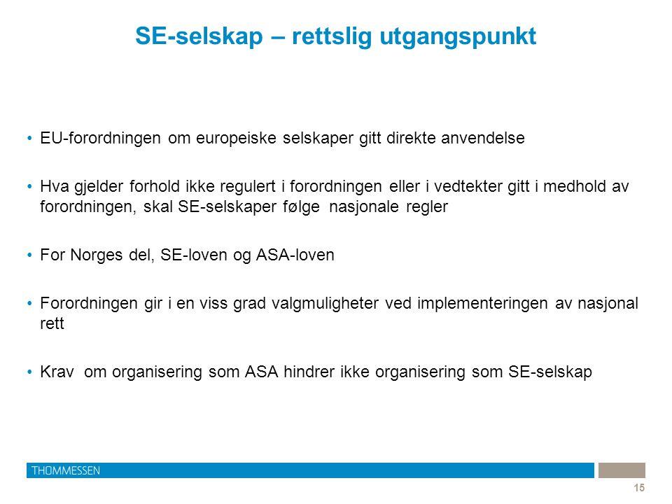 SE-selskap – rettslig utgangspunkt