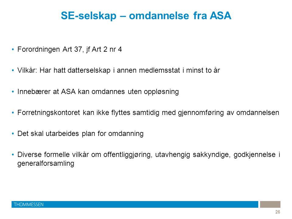 SE-selskap – omdannelse fra ASA