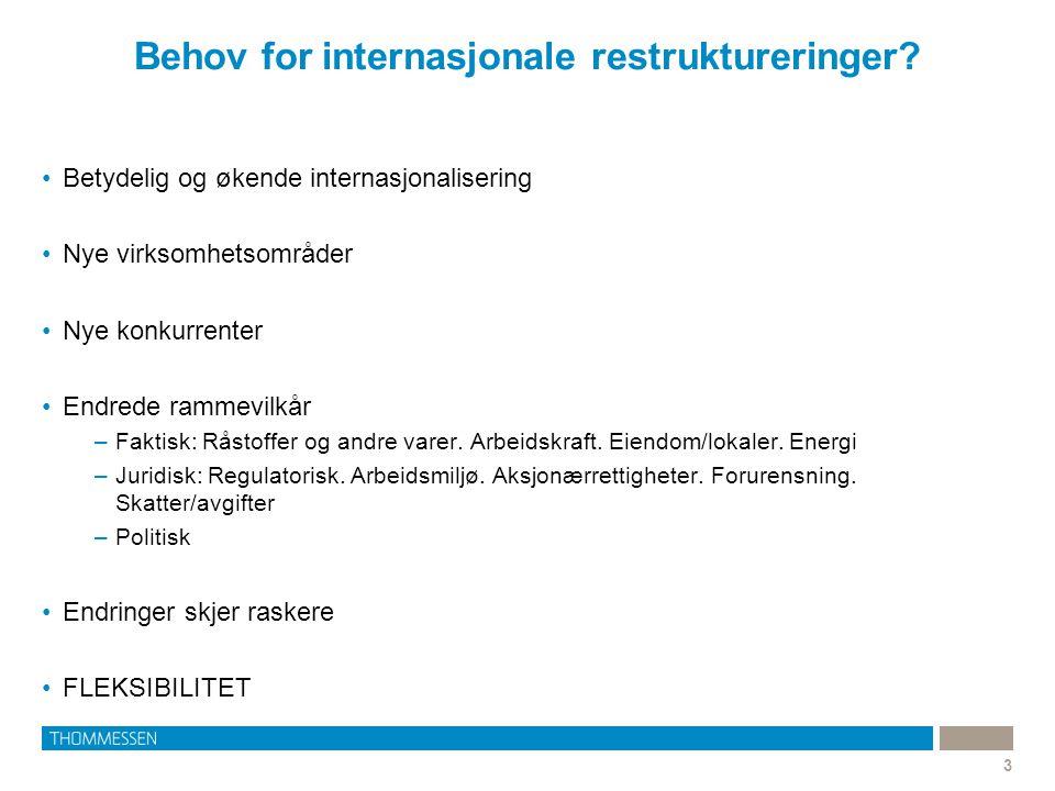 Behov for internasjonale restruktureringer