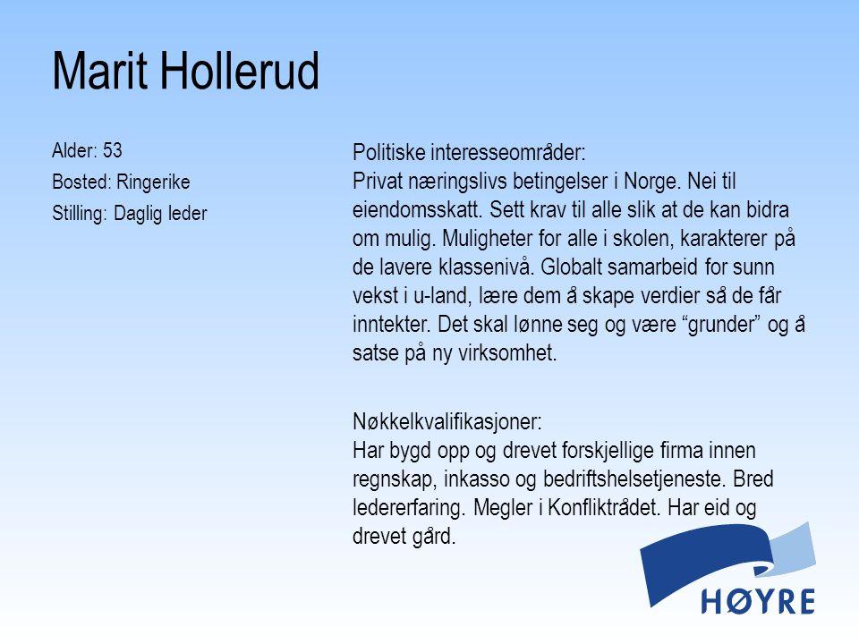 Marit Hollerud Alder: 53 Bosted: Ringerike Stilling: Daglig leder