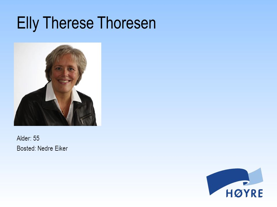 Elly Therese Thoresen Alder: 55 Bosted: Nedre Eiker