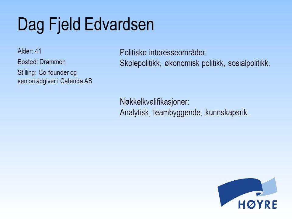 Dag Fjeld Edvardsen Alder: 41 Bosted: Drammen Stilling: Co-founder og seniorrådgiver i Catenda AS
