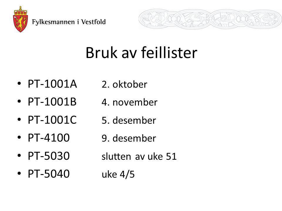 Bruk av feillister PT-1001A 2. oktober PT-1001B 4. november